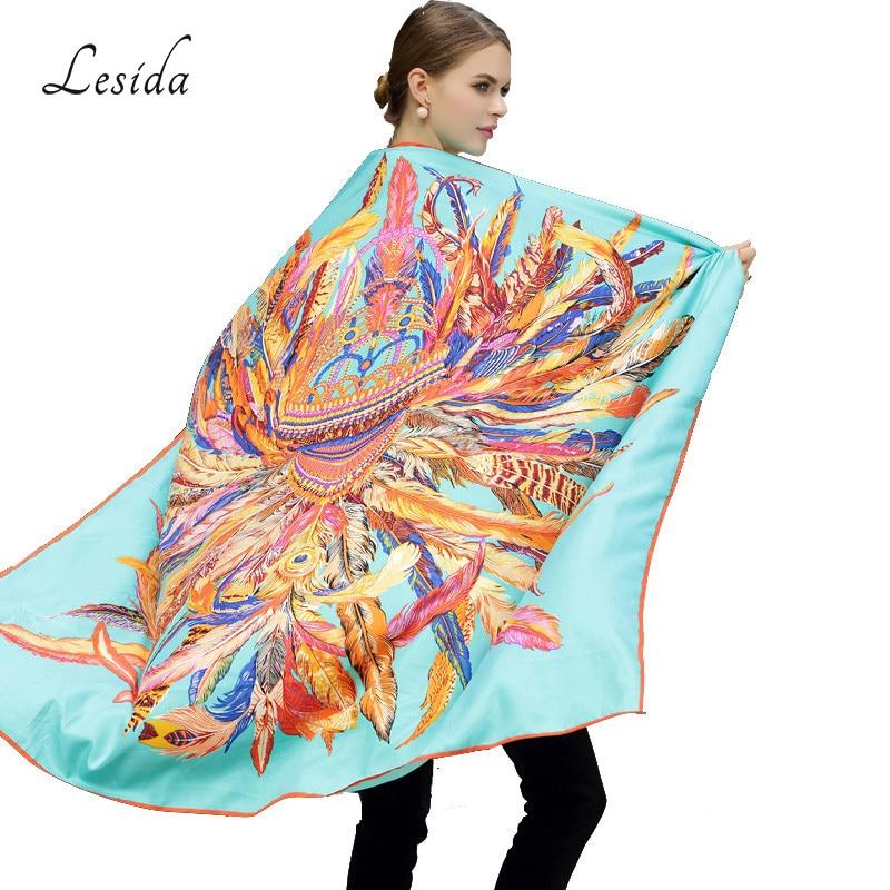 LESIDA 100% bufanda de seda de las mujeres grandes chales de impresión de plumas estolas pañuelo cuadrado marca de lujo pañuelo bufanda femenina foulard 1306
