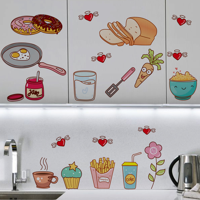 Creative Food Pattern Self Adhesive Vinyl Removable Decal for Kitchen Cabinet Decor Home Decoration PVC Wall Stickers Mural