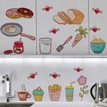 Comida criativa Padrão Autoadesivo Vinil Removível Do Decalque para o Armário de Cozinha Decoração de Casa Decoração Da Parede DO PVC Adesivos Mural
