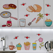 цена на Creative Food Pattern Self Adhesive Vinyl Removable Decal for Kitchen Cabinet Decor Home Decoration PVC Wall Stickers Mural