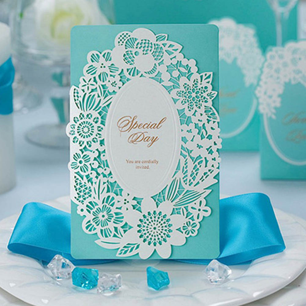 Aqua Glitter Layered Fancy Script Wedding Invitations