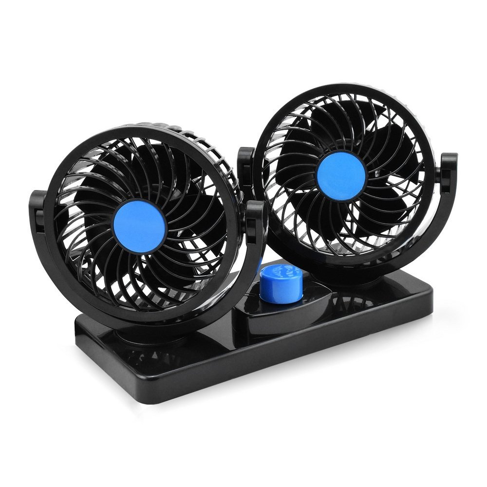 Image 2 - Summer Car Fan Cooler Mini Car Fan 12v Air Circulator 360 Degree Adjustable Rotatable 2 Head 2 Speed Usb Plug Car Accessories-in Heating & Fans from Automobiles & Motorcycles