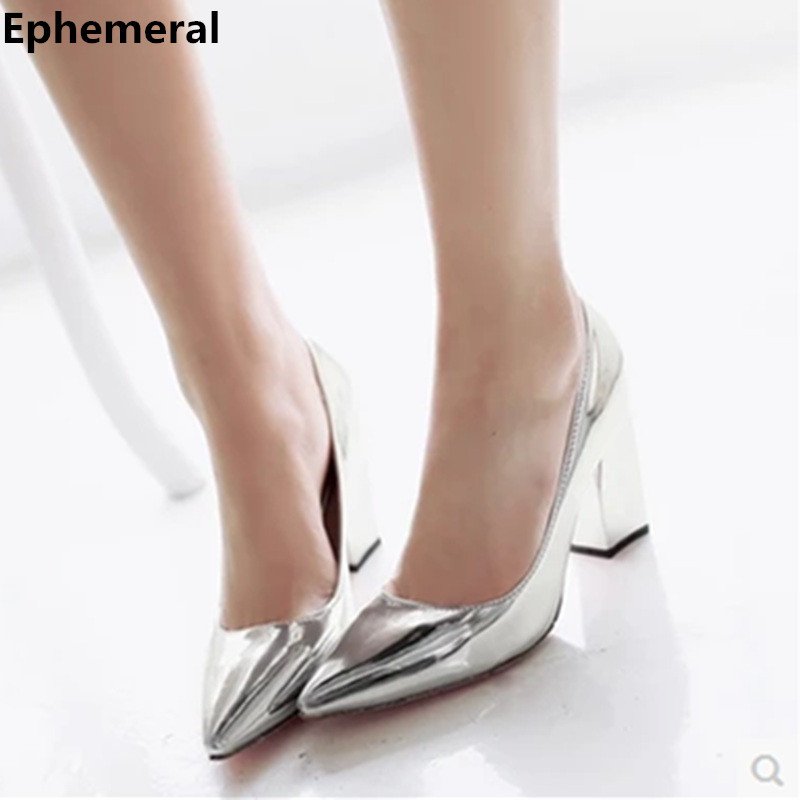 Feminina s 3 34 High quality Plus size 42 43 Pointed toe Square high heels Mirror