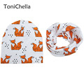 Cute Kids Baby Cotton Saliva Lunch Bib Cotton Scarf And Cat Pattern Fox Bear Eagle Bibs Cap Set BB0159