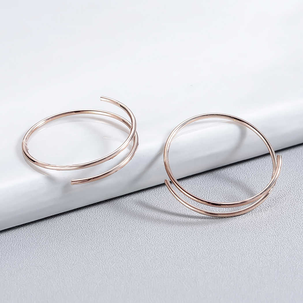 Todorova Threader Hoop Earrings for Women Classic Wedding Party Jewelry Ear Loop Smooth Small Circle Earrings Minimalist Earring