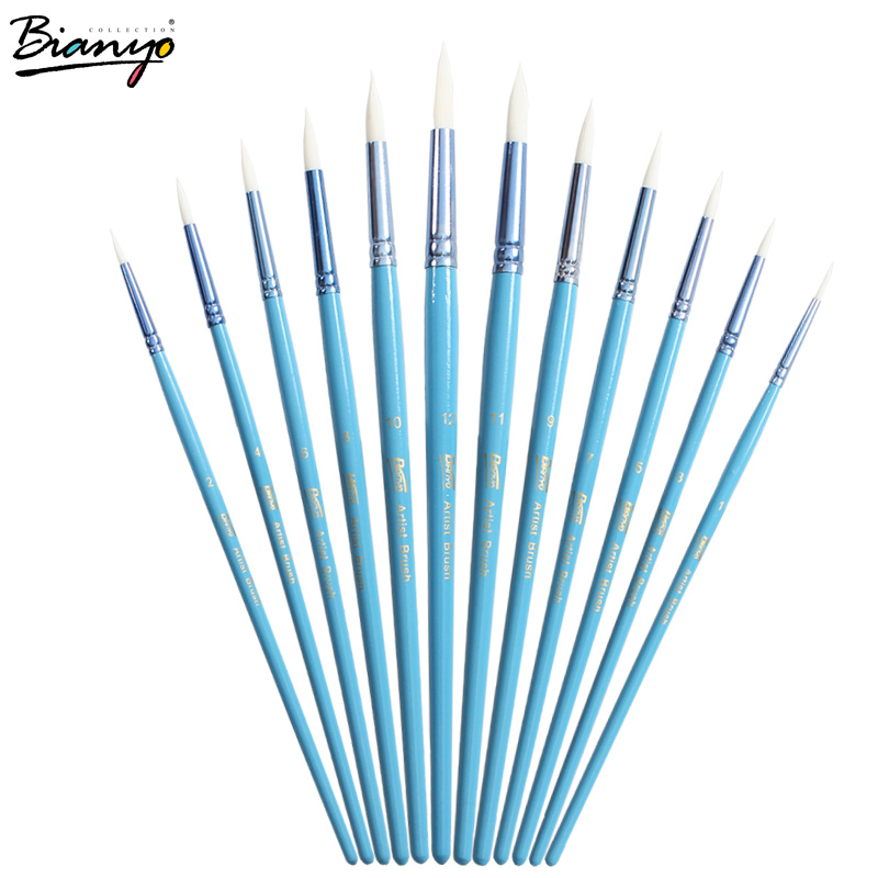 Bianyo 12pcs Different Size Round Tip Artist Nylon Hair Paintbrush Set Blue Paint Wood Handle Watercolor Brush For Art Supplies