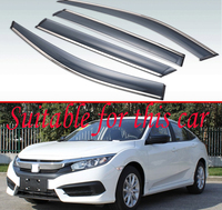 For Honda Civic 2016 2017 2018 Plastic Exterior Visor Vent Shades Window Sun Rain Guard Deflector 4pcs