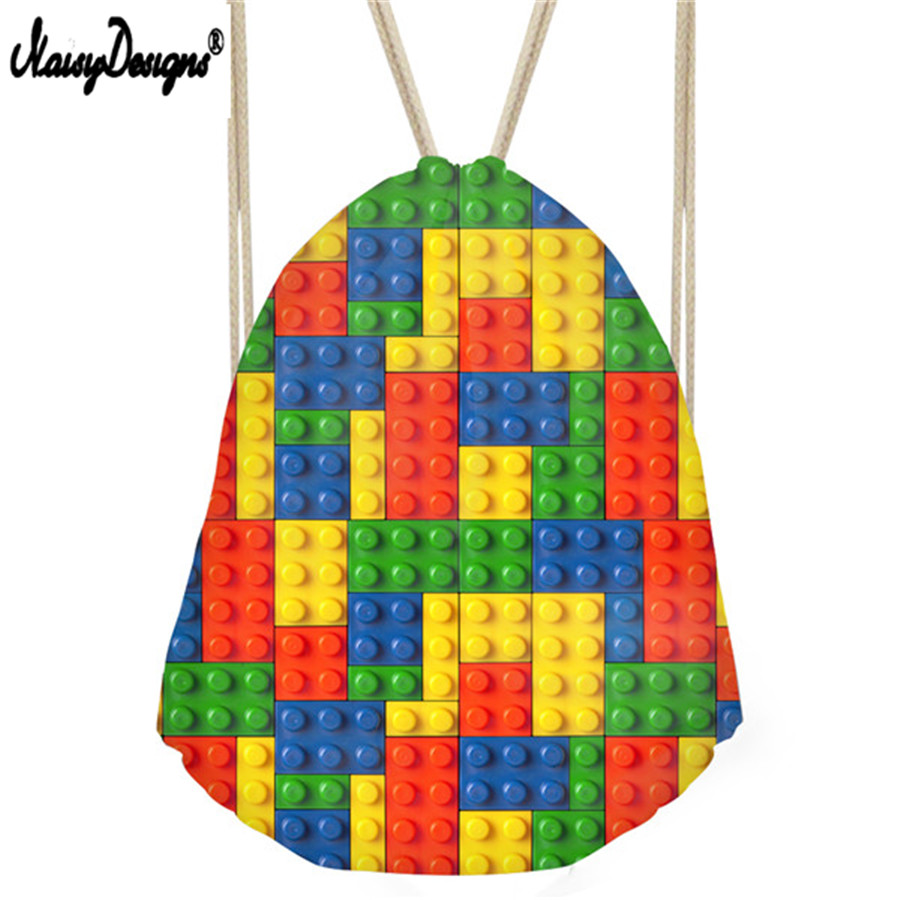 NoisyDesigns Kids Drawstring Bags 3D Tetris Casual Women Tote Bags For Fitness Small Men Cinch Backpack Girls String Bag Bolsa