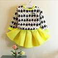 Autumn New Girls Children's Set Lovely 2 Pieces Dress Style O-neck Long Sleeves Girls Set Outerdoor Coat Kids Clothes