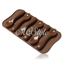 2017 Sale Real Eco-friendly Kitchen Soap Mold Cupcake Spoon Shape Cake Mold Silicone Chocolate Decorating Baking Mould K4067