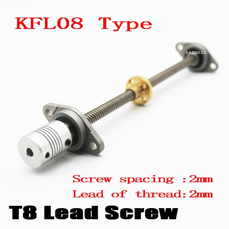 3D Printer CNC T8-300mm Lead Screw Set KFL08 Shaft Coupling Thread 8mm T8 Lead1mm Length100mm200mm350mm450mm500mm650mm THSL Rod