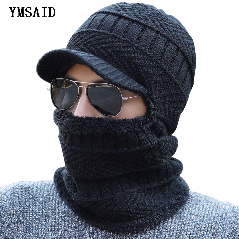 Ymsaid Winter   Beanies   Men Scarf Knitted Hat Caps Mask Gorras Bonnet Warm Baggy Winter Hats For Men Women   Skullies     Beanies   Hats