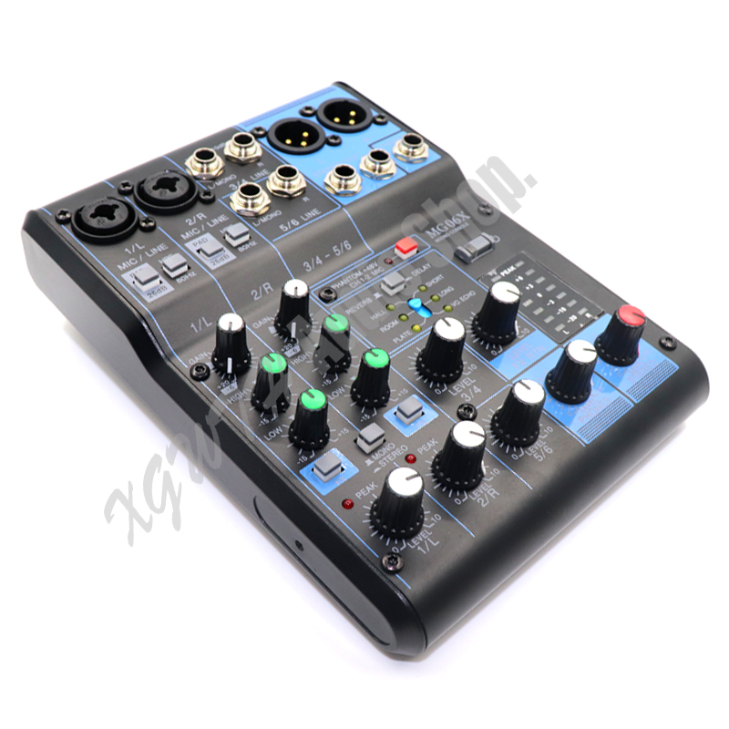 DJ 6 Channel Audio Mixer Sound Mixing Console 6 Input Compact Stereo Mixer with Effects +48V Phantom Power MG06XDJ 6 Channel Audio Mixer Sound Mixing Console 6 Input Compact Stereo Mixer with Effects +48V Phantom Power MG06X