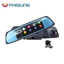 """6.86 """"Táctil RAM 1 GB ROM 16 GB 2 Vista Dividida Androide de Navegación GPS espejo Del Coche DVR de doble lente de la cámara trasera de aparcamiento WiFi FM Transmite"""