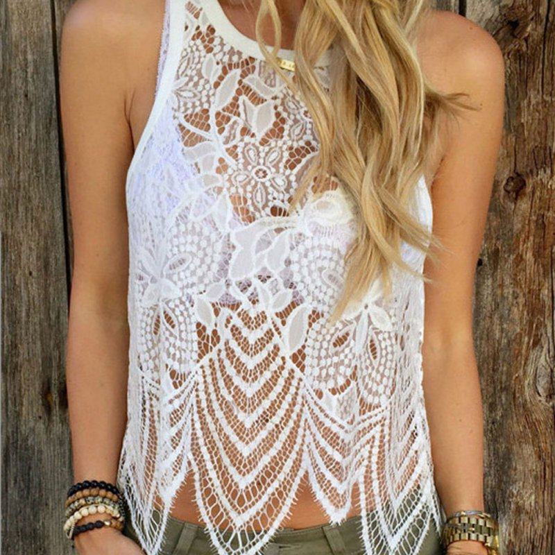 Sexy Womens Summer Lace Crochet Vest   Tank     Top   Casual Sleeveless Blouse Shirt SML