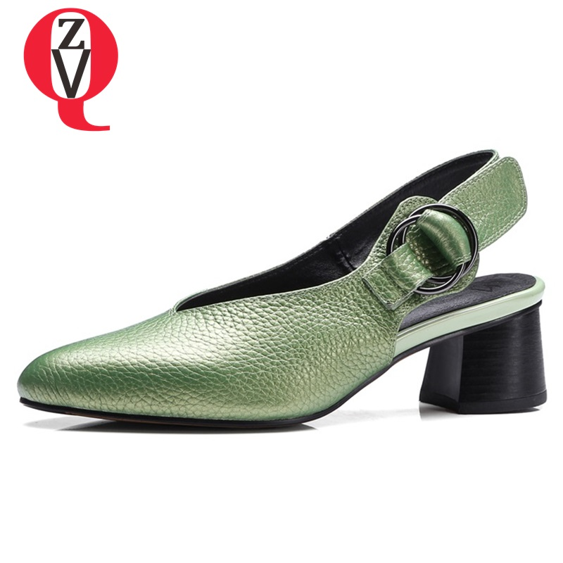 ZVQ genuine leather 33 43 large size shoes woman pumps hollow out heels 4.5cm modern pointed toe concise career autumn shoes