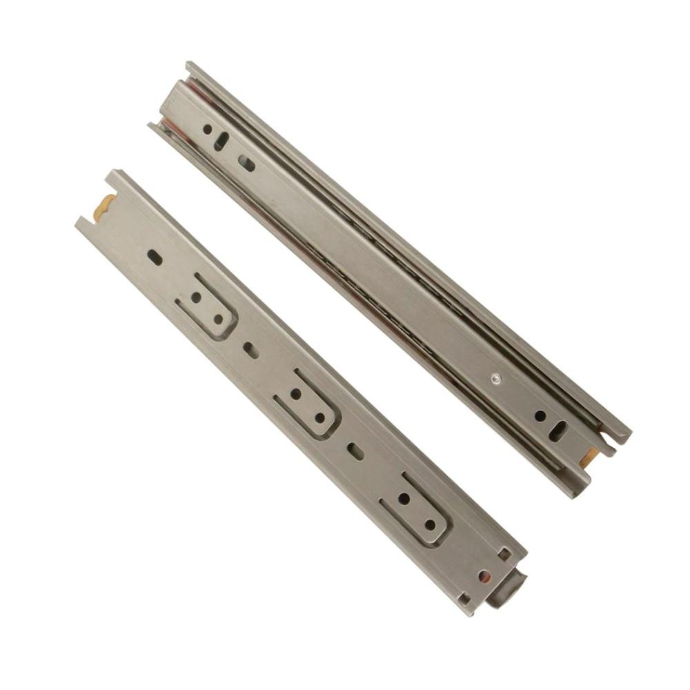 2pcs 14inch Drawer Runner Slide 35mm Width Stainless Steel Fold Telescopic Ball Bearing Sliding Rail for Furniture Cabinet