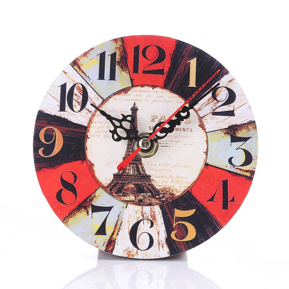 Simple Fashion Round Wall Clock Imitation Wood Retro ...