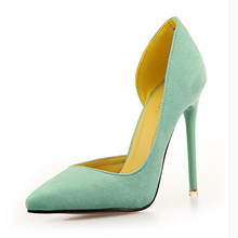 2016 Ladies Suede Pointed Toe Women Pumps  High Heels Sexy Stiletto Valentine Shoes
