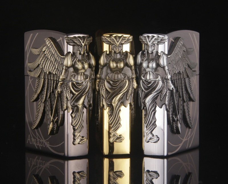 Image 4 - Gas Lighter Butane Lighter Amazon Female Warrior Cigarette Cigar Flame Tobacco Big Angel Wings Fire Bar Lighters-in Matches from Home & Garden