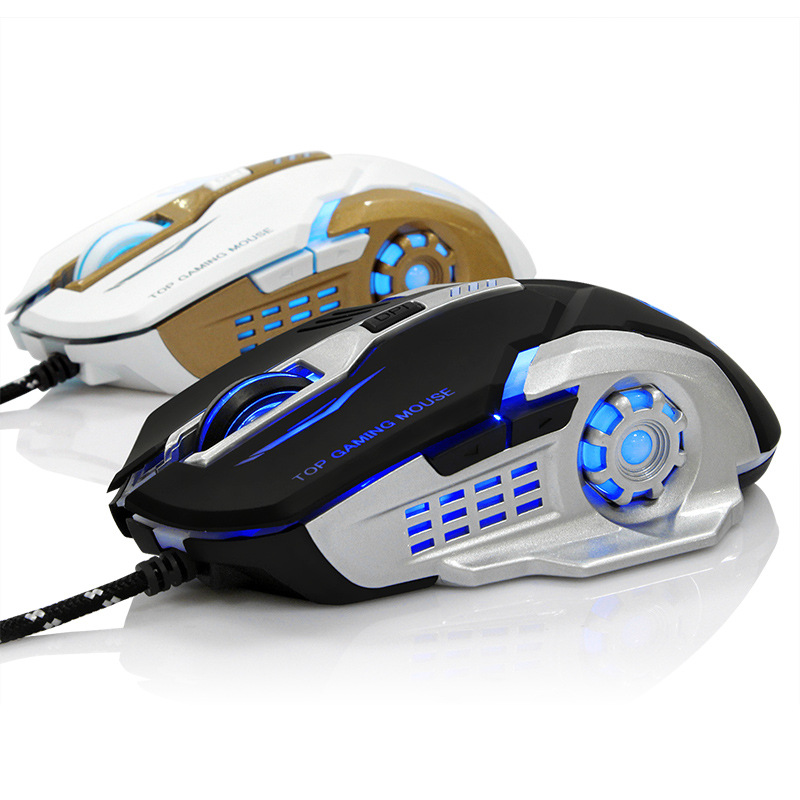 New 6 Button 3200 DPI USB Wired Mechanical Gaming Mouse Mice LED Backlit Optical Professional Game Mouse Mice for PC Laptop ...
