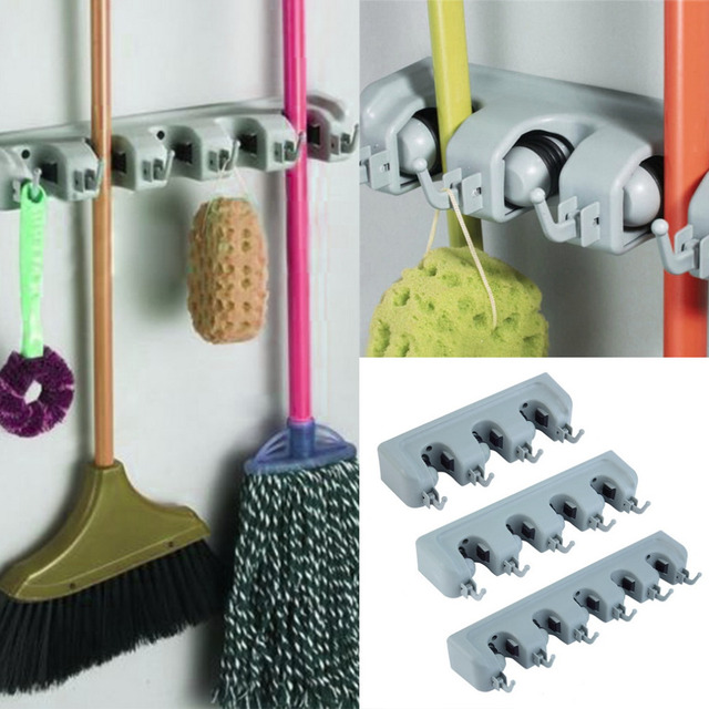 Por Kitchen Wall Mounted Hanger Storage Rack 3 5 Position Mop Brush Broom Organizer