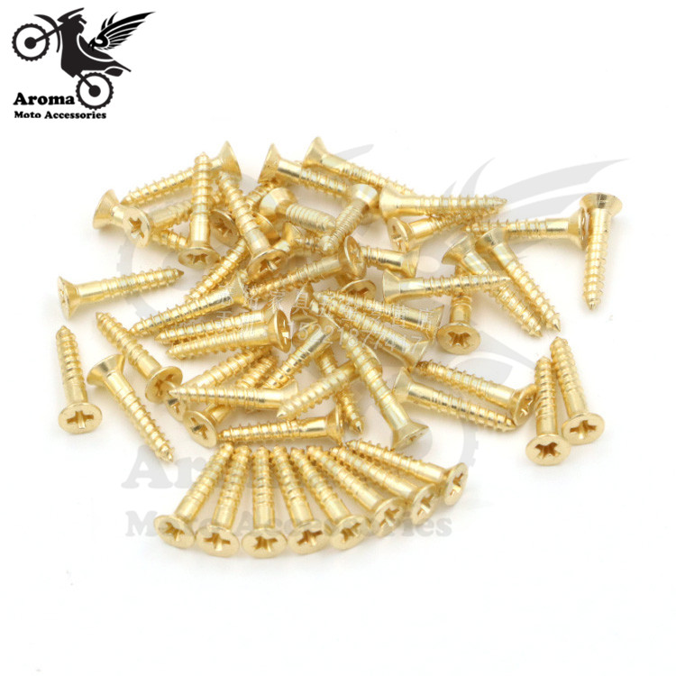 50pcs/lot golden motorcycle screws 3mm copper motorbike tip screw moto decal Ornamental Mouldings unviersal tapping screws parts special copper screws copper hexagon bolt copper outer hexagonal screws m16 80