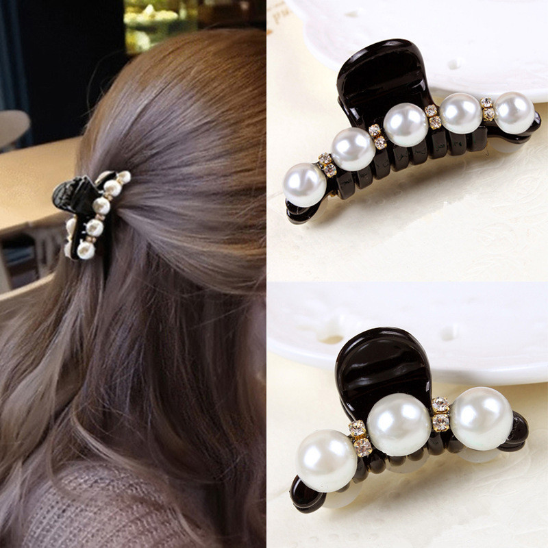 New 1 Pc Women Fashion Black Crystal Pearl Hair Clip Claw Hair Accessories