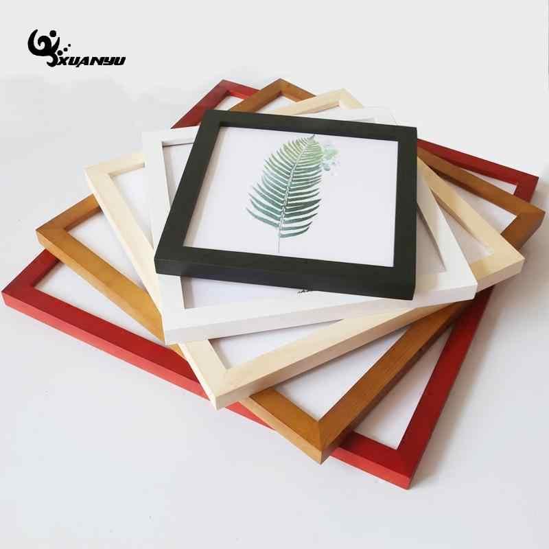 Твердые деревянные квадратные фоторамки подвешивание картины рамки стене висит вышивки крестом монтажа С алмазами, с изображением кадров Home Decor