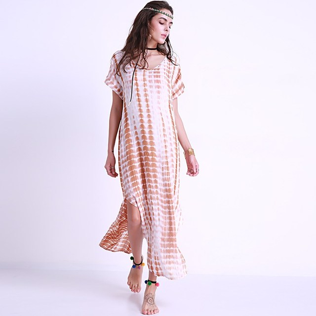 Women Oversized Dresses 2018 Tie Dye Print Long Shift Dress Sexy Casual  Beach Vacation Short Sleeve Loose Maxi Dress Plus Size 0dccae473aab