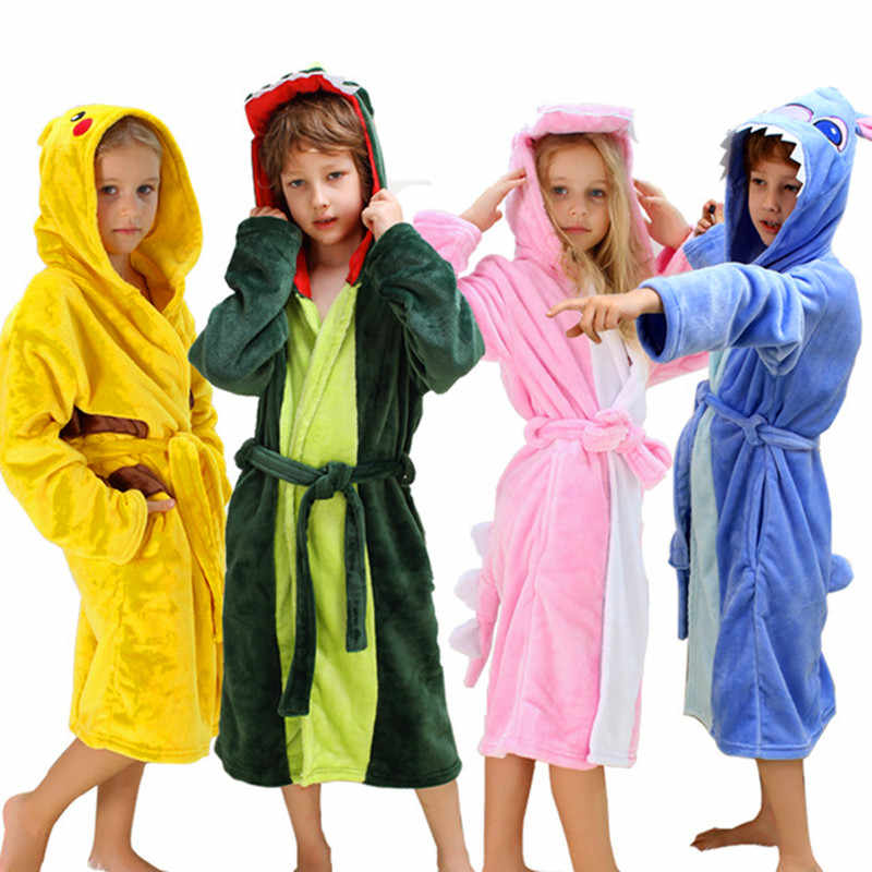 ffec963a84 Children Bathrobe for Girls Pokemon Pikachu Dinosaur Polyester Kids Boys  Bathrobes Beach Towel Enfant Sleepwear Hoodie