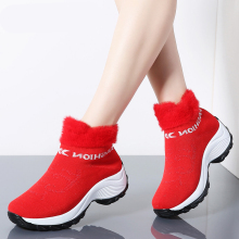 LAISUMK Brand New Boots Women 2019 Winter Fashion Platform Wedges Shoes Woman Slip-on Snow Red botas mujer Big Size 35-42
