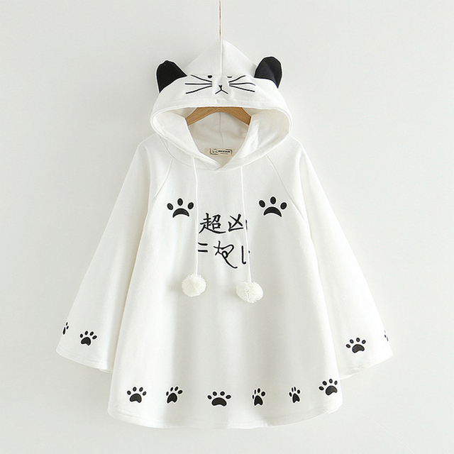 Sport kawaii ropa Harajuku Penguin chat en polaire à capuche Sweat manteau