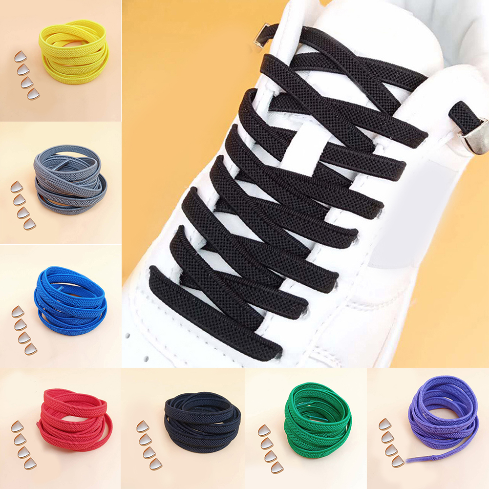 Metal Buckle D Word Lazy Shoelaces Free Tie Elastic Wild Casual Flat Shoelaces