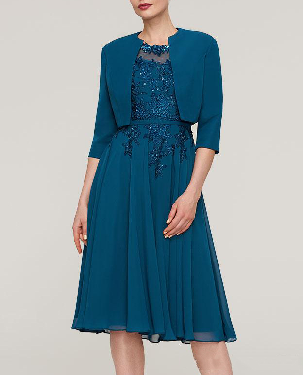 Blue Women's Chiffon With Appliqued Beadings Scoop Neck 2 Pieces Mother Of The Bride Dress Knee Length With Jacket Kurti