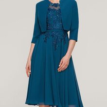 Blue Women's Chiffon With Appliqued Beadings Scoop Neck 2 Pieces Mother Of The Bride Dress Knee Leng
