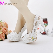 12cm New Wedding Shoes Pageant Wedding Party Dress Shoes Custom Made Graceful Lace Flower Bridal Shoes