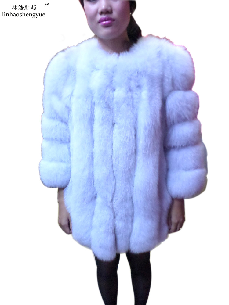 Linhaoshengyue Long 75cm Blue fox fur red long sleeved black jacket