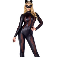 2016 Women Sexy Cosplay Black Leather Sleeves Club Party Bodysuits Erotic Halloween Hollow Jumpsuit Bat Catsuit
