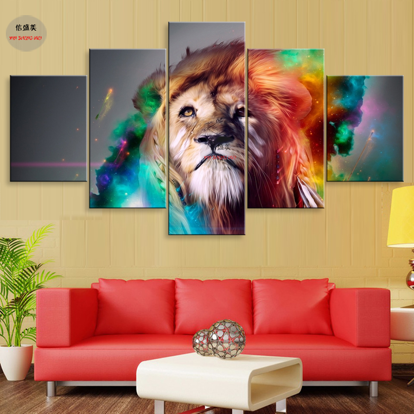 Buy 5 Piece Canvas Art Animal Picture Poster Wall Pictures For Living Room Modular Painting HD Print Canvas Oil Paintings Home Decor for $8.82 in AliExpress store
