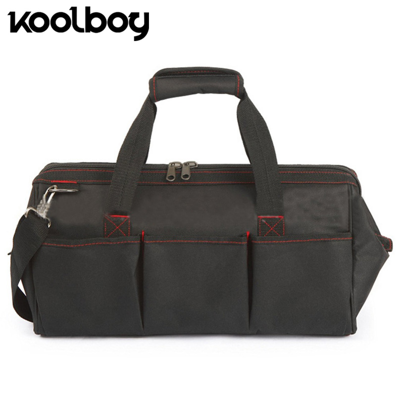 18 inch Large Canvas Tool Bag Professional Electrician Tools Heavy Duty Storage Organizer Bag Black Tote Working Bag Holder
