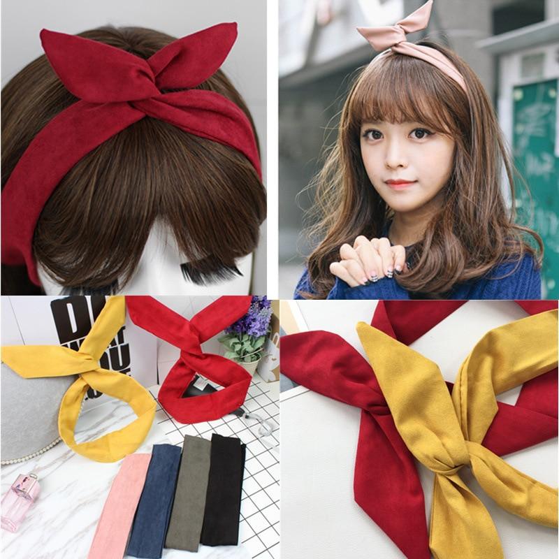 Korean Suede Retro Solid Color Rabbit Ears Headbands Metal Wire Scarf Cross Bow Hairbands Hair Accessories figurine
