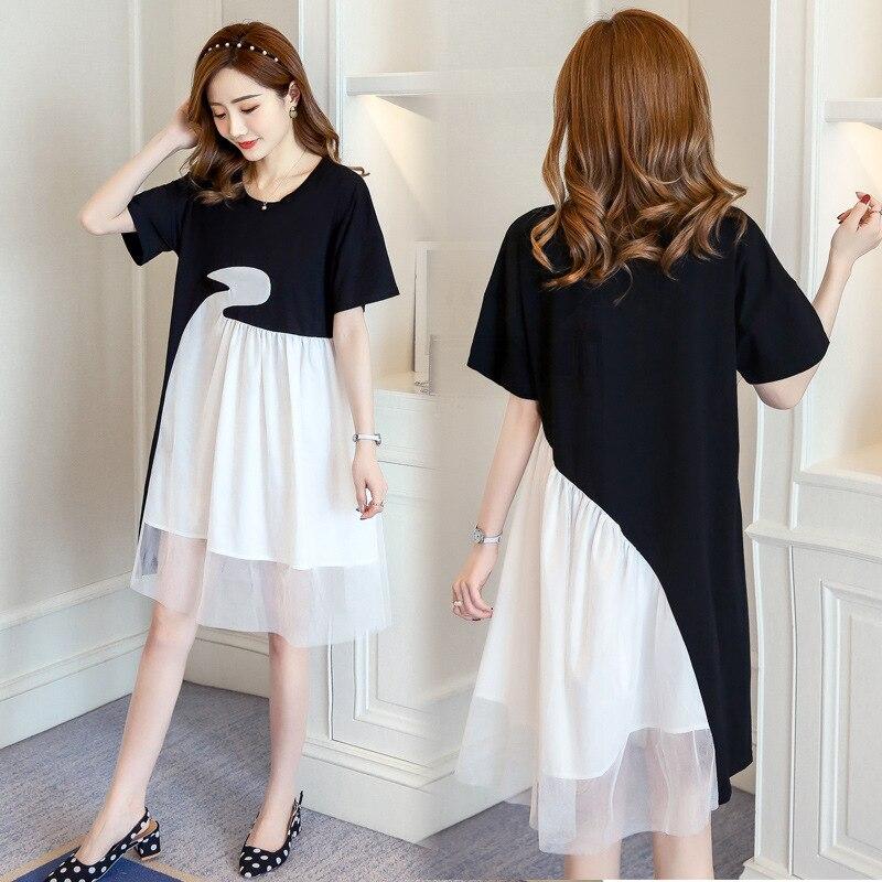 Черно-белые платья для беременных Одежда для беременных женская одежда для мам летнее платье с коротким рукавом