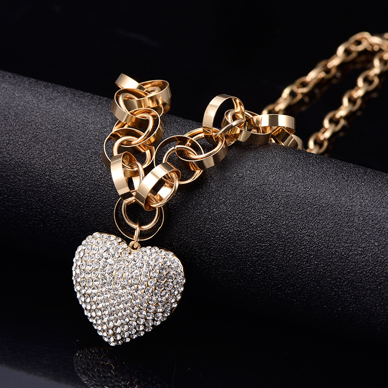 Fanqieliu Fashion Rhinestone Jewelry New 2019 Heart Pendant Necklace For Women Gold Silver Necklace Hot Brand FQL11113 in Pendant Necklaces from Jewelry Accessories