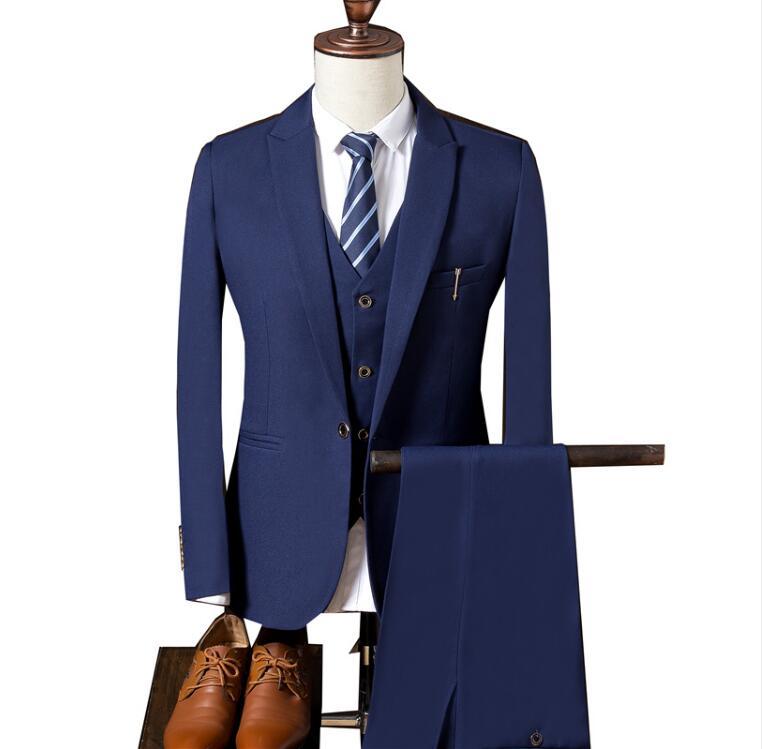 (Jacket+Vest+Pants) Ropa De Hombre 2018 Men's Fashion Business Wool Suit Men Casual High Quality Single Button Wedding Suits