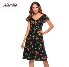 5313b45700 Alacchio 2018 Dresses Deep V-Neck Cloak Sleeve Posing Retro Sexy 80% Cotton  Style