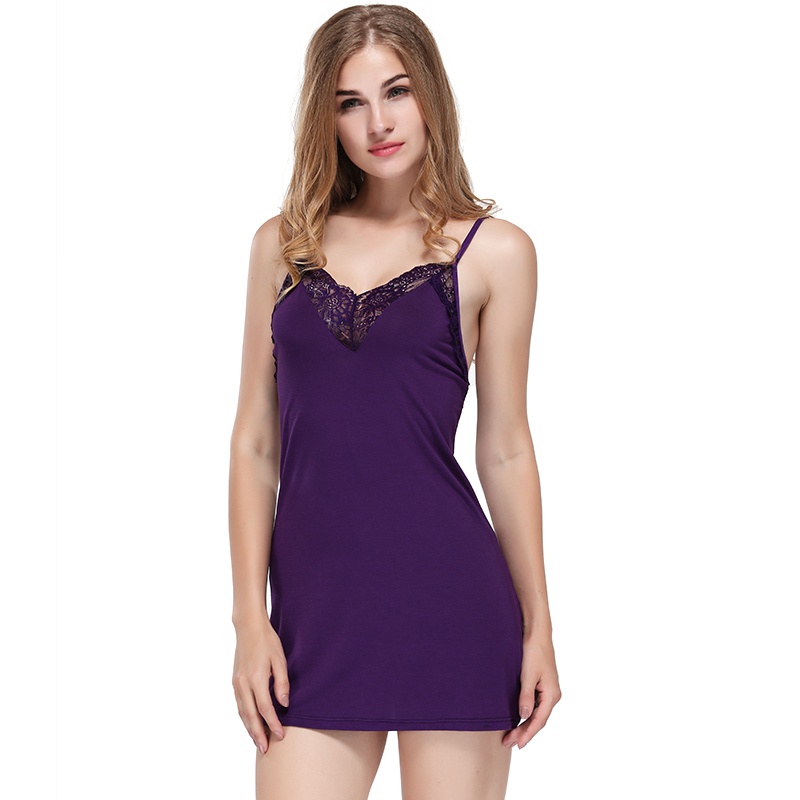 Deep V-Neck Women Sexy Lace Patchwork Nightgown Fashion Nightdress Lingerie Cotton Modal Ladies G-String Nightwear Night Dress