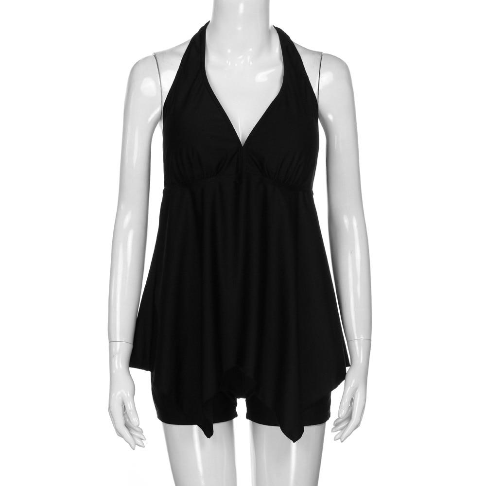 Womens large size swimming equipment Solid color low-collar two-piece bikini New split swimwear