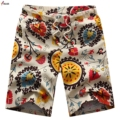 2017 Men's Linen Shorts Personality Ethnic Style Color Stitching Men Summer New Leisure Wild Men Loose Floral Beach Shorts M-5XL