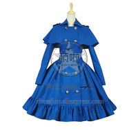 Gothic Lolita Cosplay Victorian Cape Reenactment Steampunk Stage Dress Costume Double breasted With Cloak Classical Dress